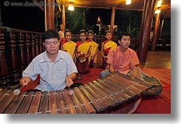 asia, asian, dance, girls, horizontal, instruments, laos, luang prabang, music, musicians, people, xylophone, photograph