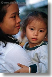 asia, asian, childrens, daughter, emotions, laos, luang prabang, mothers, people, smiles, vertical, photograph