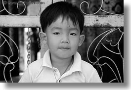 asia, asian, black and white, boys, childrens, gates, horizontal, laos, luang prabang, people, toddlers, photograph