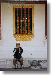 asia, beret, cane, clothes, emotions, hats, laos, luang prabang, men, old, people, sitting, solitude, vertical, walking, photograph