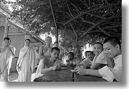 asia, asian, black and white, boys, colors, groups, horizontal, laos, laughing, luang prabang, men, monks, oranges, people, photograph
