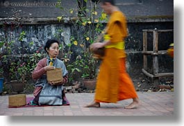 alms, asia, asian, colors, giving, giving alms, horizontal, laos, luang prabang, men, monks, oranges, people, procession, womens, photograph