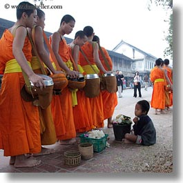 asia, asian, beggar, boys, childrens, colors, laos, luang prabang, men, monks, oranges, people, procession, square format, photograph