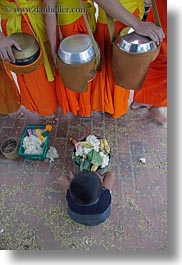 asia, asian, beggar, boys, childrens, colors, downview, laos, luang prabang, men, monks, oranges, people, perspective, procession, vertical, photograph