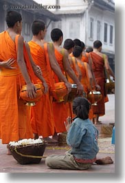 asia, asian, beggar, childrens, colors, girls, laos, luang prabang, men, monks, oranges, people, procession, vertical, photograph
