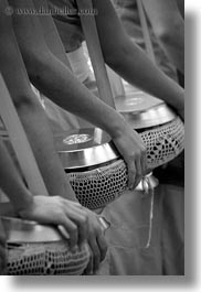 alms, arms, asia, asian, black and white, colors, laos, luang prabang, men, monks, oranges, people, procession, vertical, photograph