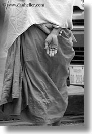 asia, asian, black and white, hands, helping, laos, luang prabang, men, monks, people, procession, vertical, photograph