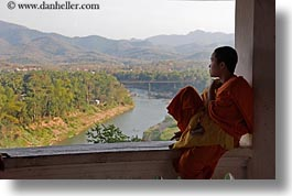 asia, asian, colors, horizontal, laos, luang prabang, men, monks, oranges, overlooking, people, rivers, silhouettes, singles, photograph