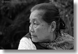 asia, asian, black and white, horizontal, laos, luang prabang, old, people, profile, womens, photograph