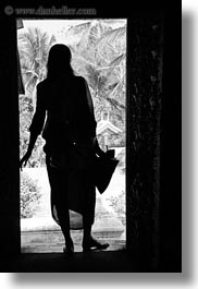 asia, black and white, doors, laos, luang prabang, people, silhouettes, vertical, womens, photograph