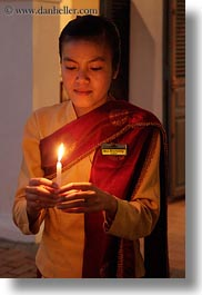 asia, asian, candles, glow, holding, laos, lights, luang prabang, nite, people, vertical, womens, photograph