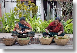 asia, asian, baskets, foods, horizontal, laos, luang prabang, old, people, selling food, womens, photograph