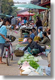 asia, foods, fruits, laos, lettuce, luang prabang, market, people, produce, selling, selling food, vegetables, vertical, womens, photograph