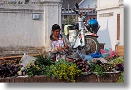 asia, eggplant, foods, fruits, horizontal, laos, luang prabang, market, people, produce, selling, selling food, vegetables, womens, photograph