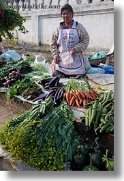 asia, carrots, eggplant, foods, fruits, laos, luang prabang, market, people, produce, selling, selling food, vegetables, vertical, womens, zucchini, photograph