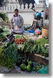 asia, asian, carrots, eggplant, foods, fruits, laos, luang prabang, market, people, produce, selling, selling food, vegetables, vertical, womens, zucchini, photograph