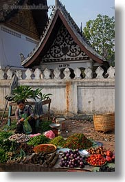 asia, asian, foods, fruits, laos, luang prabang, market, people, produce, selling, selling food, vegetables, vertical, womens, photograph