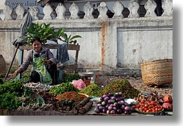 asia, asian, foods, fruits, horizontal, laos, luang prabang, market, people, produce, selling, selling food, vegetables, womens, photograph