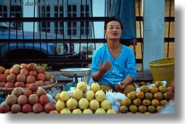 apples, asia, asian, foods, fruits, horizontal, laos, luang prabang, market, pears, people, produce, selling, selling food, vegetables, womens, photograph