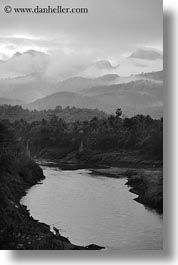 asia, black and white, dawn, fog, laos, luang prabang, nam khan, rivers, scenics, vertical, photograph