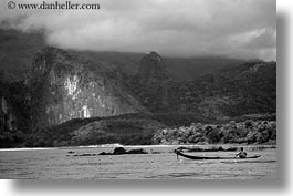 asia, black and white, fishermen, horizontal, laos, luang prabang, nam khan, rivers, scenics, photograph