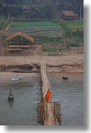 agriculture, asia, bamboo, bridge, buildings, crossing, huts, laos, luang prabang, materials, monks, nature, rivers, scenics, structures, vertical, water, photograph