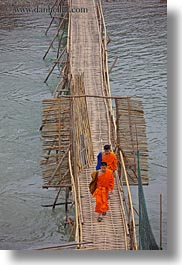 asia, bamboo, bridge, crossing, laos, luang prabang, monks, rivers, scenics, vertical, photograph