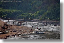 asia, horizontal, laos, luang prabang, nam khan, people, rivers, scenics, wading, photograph