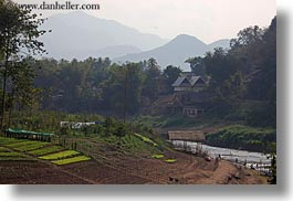 asia, horizontal, houses, laos, luang prabang, mountains, rivers, scenics, photograph