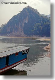 asia, boats, laos, luang prabang, mountains, rivers, round, scenics, tops, vertical, photograph