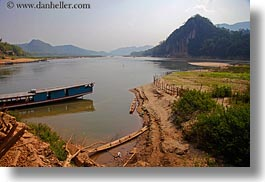 asia, boats, horizontal, laos, luang prabang, mountains, rivers, round, scenics, tops, photograph