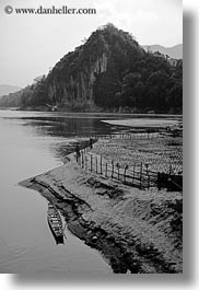 asia, black and white, boats, laos, luang prabang, mountains, rivers, round, scenics, tops, vertical, photograph