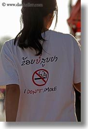 asia, cambodian, girls, language, laos, luang prabang, no smoking, shirts, signs, vertical, wearing, photograph