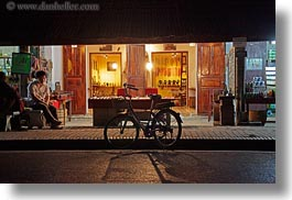 asia, bicycles, bikes, fronts, horizontal, laos, luang prabang, nite, stores, transportation, photograph