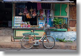 asia, bicycles, bikes, horizontal, laos, luang prabang, stores, streets, transportation, photograph
