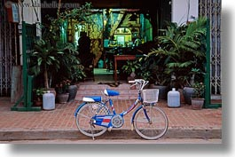 asia, baskets, bicycles, bikes, blues, horizontal, laos, luang prabang, transportation, photograph
