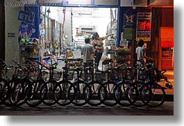 asia, bikes, horizontal, laos, luang prabang, many, nite, parked, transportation, photograph