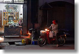 asia, bikes, headlights, horizontal, laos, luang prabang, motorcycles, nite, stores, transportation, photograph