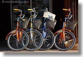 asia, bikes, colored, colorful, colors, horizontal, laos, luang prabang, multi, transportation, photograph