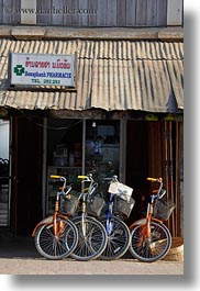 asia, bikes, colored, colorful, colors, laos, luang prabang, multi, transportation, vertical, photograph