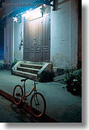 asia, bicycles, bikes, laos, lights, luang prabang, nite, transportation, vertical, photograph