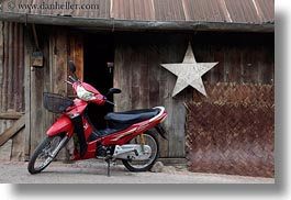 asia, bikes, horizontal, laos, luang prabang, motorcycles, red, stars, transportation, photograph