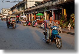 asia, bikes, blues, horizontal, laos, luang prabang, motorcycles, towns, transportation, womens, photograph