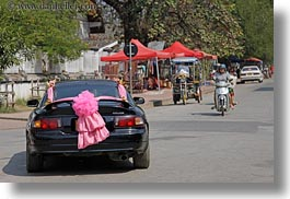 asia, black, cars, events, horizontal, laos, luang prabang, pink, ribbons, transportation, wedding, photograph