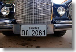 asia, benz, black, cambodian, cars, horizontal, language, laos, luang prabang, mercedes, transportation, photograph
