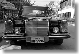 asia, benz, black, black and white, cambodian, cars, horizontal, language, laos, luang prabang, mercedes, transportation, photograph