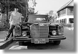asia, benz, black, black and white, cambodian, cars, horizontal, language, laos, luang prabang, men, mercedes, transportation, photograph