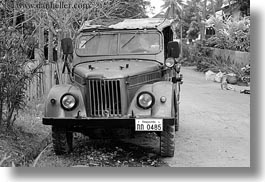 asia, black and white, cars, horizontal, jeep, laos, luang prabang, old, transportation, photograph