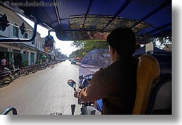 asia, cars, horizontal, laos, luang prabang, motion blur, riding, transportation, tuk tuk, photograph