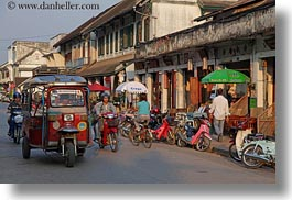 asia, cars, horizontal, laos, luang prabang, motorcycles, transportation, tuk tuk, photograph